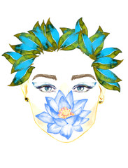 Face with blue eyes, blue lotus flower holding by lips, floral blue and green leaves hairstyle, hand painted watercolor fashion illustration isolated on white