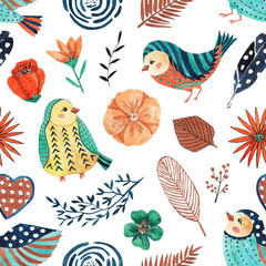 Seamless pattern with watercolor cute birds and flowers on white background