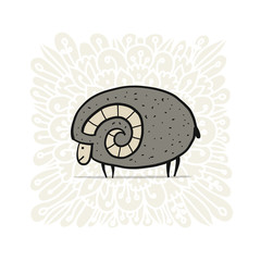 Cute ram, simple sketch for your design