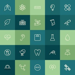 Modern Simple Set of health, science, nature Vector outline Icons. ..Contains such Icons as  school,  atom,  technology,  organic, eco, ear and more on green background. Fully Editable. Pixel Perfect.