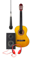 Music and sound - Classic guitar, microphone, loudspeaker enclosure and red headphone. Isolated