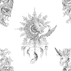 Seamless pattern dreamcatcher and bird and pegasus on white background.