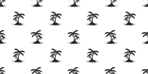 palm tree Seamless Pattern Coconut tree island vector isolated sea ocean summer beach tropical wallpaper background