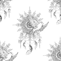 Seamless pattern dreamcatcher and bird on white background.