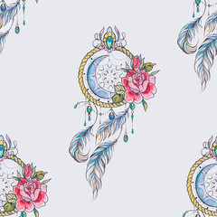 Seamless pattern dreamcatcher with flowers on a white background.