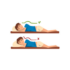 Correct and worst positions for sleeping, boy sleeping on the bed vector Illustration on a white background