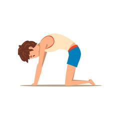 Boy in Cat yoga pose, Marjaryasana, rehabilitation exercise for back pain and improving posture vector Illustration on a white background