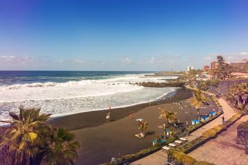 black sand Jardin beach in Puerto de la Cruz. Tenerife