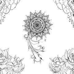 Seamless pattern of beautiful mandala and peonies in ornament on a white background.