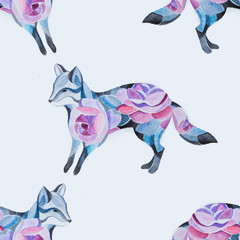 Seamless fox pattern in flowers on a white background.