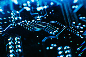 computer board blue color close-up