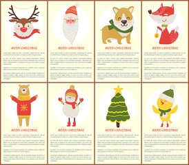 Merry Christmas Posters Vector Illustration