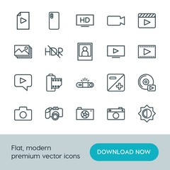 Modern Simple Set of video, photos Vector outline Icons. ..Contains such Icons as  television,  bright,  vector,  picture,  photo,  play and more on white background. Fully Editable. Pixel Perfect.