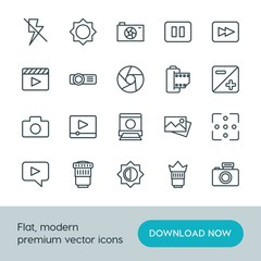 Modern Simple Set of video, photos Vector outline Icons. ..Contains such Icons as  caption,  mobile,  space,  illustration,  pause,  play and more on white background. Fully Editable. Pixel Perfect.