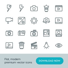 Modern Simple Set of video, photos Vector outline Icons. ..Contains such Icons as  view,  cinema,  film,  rotate,  lamp,  television,  sign and more on white background. Fully Editable. Pixel Perfect.