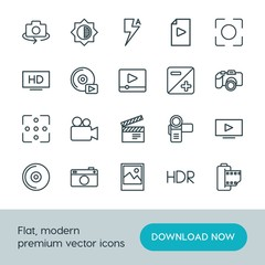 Modern Simple Set of video, photos Vector outline Icons. ..Contains such Icons as  concept,  space,  hand,  lightning,  tv,  old,  compact and more on white background. Fully Editable. Pixel Perfect.