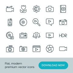 Modern Simple Set of video, photos Vector outline Icons. ..Contains such Icons as  cd, selfie,  cinema,  icon, dvd, technology,  background and more on white background. Fully Editable. Pixel Perfect.