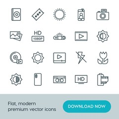 Modern Simple Set of video, photos Vector outline Icons. ..Contains such Icons as  cd,  vhs,  photo,  retro,  camera,  entertainment,  icon and more on white background. Fully Editable. Pixel Perfect.