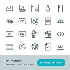 Modern Simple Set of video, photos Vector outline Icons. ..Contains such Icons as  light, dark,  lamp,  picture, hdr,  iso, film,  forward and more on white background. Fully Editable. Pixel Perfect.