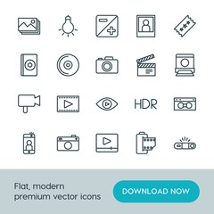 Modern Simple Set of video, photos Vector outline Icons. ..Contains such Icons as  entertainment, hdr,  design,  travel,  vintage,  camera and more on white background. Fully Editable. Pixel Perfect.