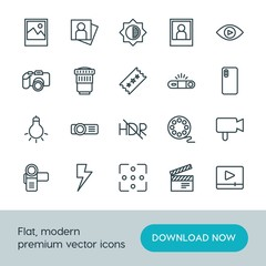 Modern Simple Set of video, photos Vector outline Icons. ..Contains such Icons as image,  video,  camera,  movie,  technology,  cinema and more on white background. Fully Editable. Pixel Perfect.