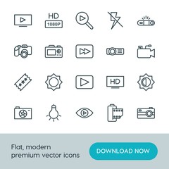 Modern Simple Set of video, photos Vector outline Icons. ..Contains such Icons as  icon, lightning,  technology,  space,  dslr,  retro, hd and more on white background. Fully Editable. Pixel Perfect.