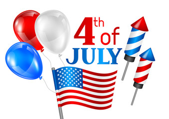 Fourth of July Independence Day greeting card. American patriotic illustration