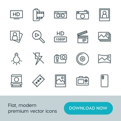 Modern Simple Set of video, photos Vector outline Icons. ..Contains such Icons as  picture, panorama, disc,  nature,  icon,  music,  retro and more on white background. Fully Editable. Pixel Perfect.