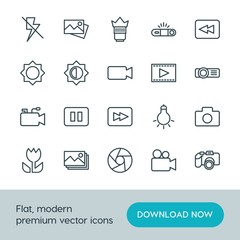 Modern Simple Set of video, photos Vector outline Icons. ..Contains such Icons as  element,  equipment,  video,  photography,  background and more on white background. Fully Editable. Pixel Perfect.