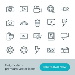 Modern Simple Set of video, photos Vector outline Icons. ..Contains such Icons as  shot,  old,  lens,  architecture,  picture, light, movie and more on white background. Fully Editable. Pixel Perfect.