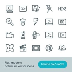 Modern Simple Set of video, photos Vector outline Icons. ..Contains such Icons as  music,  video, film,  photo,  forward,  movie,  scroll and more on white background. Fully Editable. Pixel Perfect.