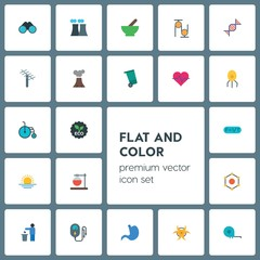 Modern Simple Set of health, science, nature Vector flat Icons. ..Contains such Icons as  nature, meter,  research,  eco,  electric,  symbol and more on grey background. Fully Editable. Pixel Perfect
