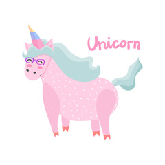 Unicorn. Magical. Really. Pink. Children's, for printing on cards and prints on clothes.