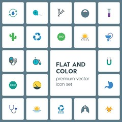 Modern Simple Set of health, science, nature Vector flat Icons. ..Contains such Icons as ecology,  stethoscope,  eco,  girl, doctor, weight and more on grey background. Fully Editable. Pixel Perfect