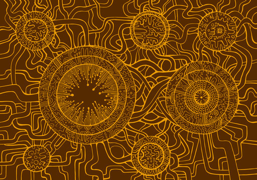 Colored vintage background, steampunk doodle style