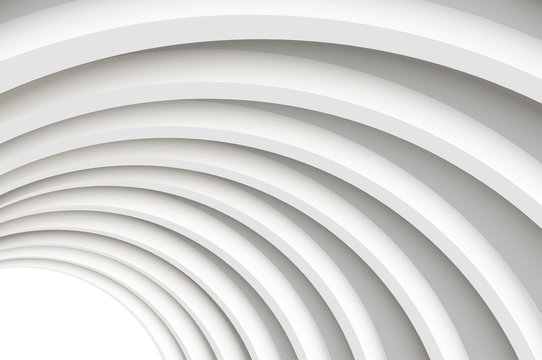 Architectural vector 3d background. A modern white concrete arched ceiling in perspective. The same semicircular shape. The light in the end.