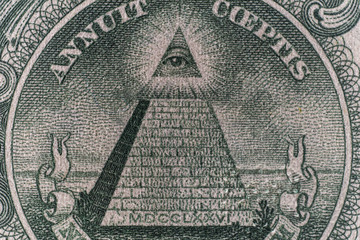 Pyramid of one dollar bill