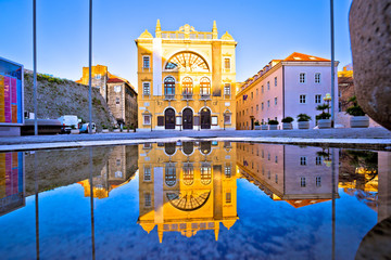 Croatian national theatre of Split water reflection view