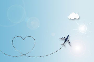 Love cloud travel background