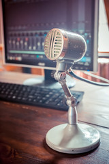 vintage microphone in a recording studio