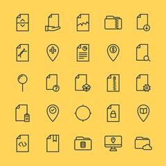 Modern Simple Set of location, folder, files Vector outline Icons. ..Contains such Icons as broken, file,  map,  divider,  file,  bank and more on yellow background. Fully Editable. Pixel Perfect.