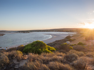 Sunrise over the Murchison River mouth and Kalbarri town