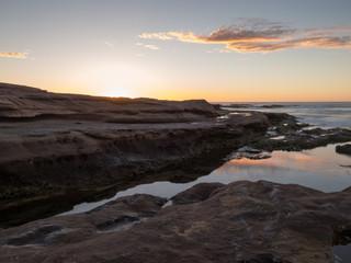 Sunset on rocky beach, Red Bluff, Kalbarri, Western Australia