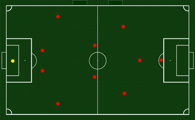 Soccer coach tablet with scheme of game icon,Scheme of football game and ball on green blackboard background