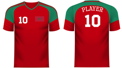 Morocco Fan sports tee shirt in generic country colors