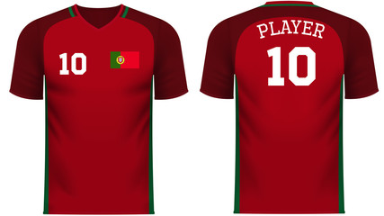 Portugal Fan sports tee shirt in generic country colors