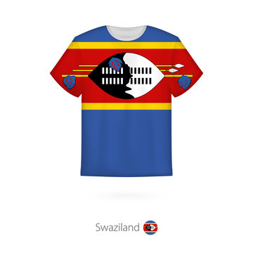 T-shirt design with flag of Swaziland.