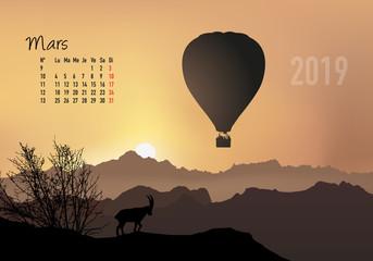 calendrier 2019 - calendrier - montgolfière - 2019 - paysage - mars - année - mois - printemps - jour férié