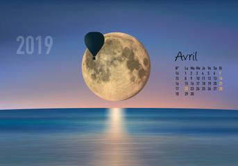 calendrier 2019 - calendrier - montgolfière - 2019 - paysage - avril - année - mois - printemps - jour férié
