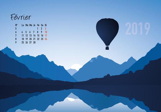 calendrier 2019 - calendrier - montgolfière - 2019 - paysage - février - année - mois - hiver - jour férié